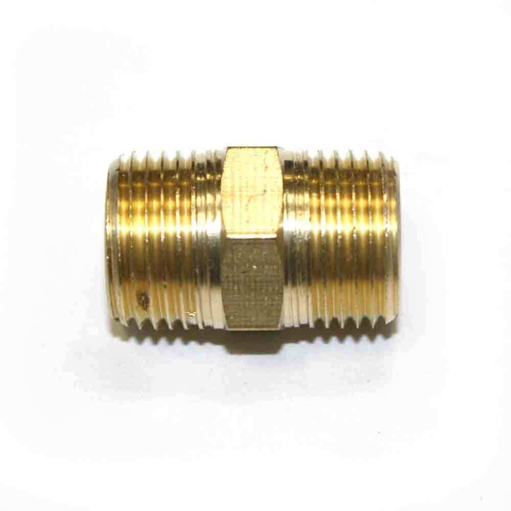 Quot npt male brass hex nipple pipe fitting air fuel water
