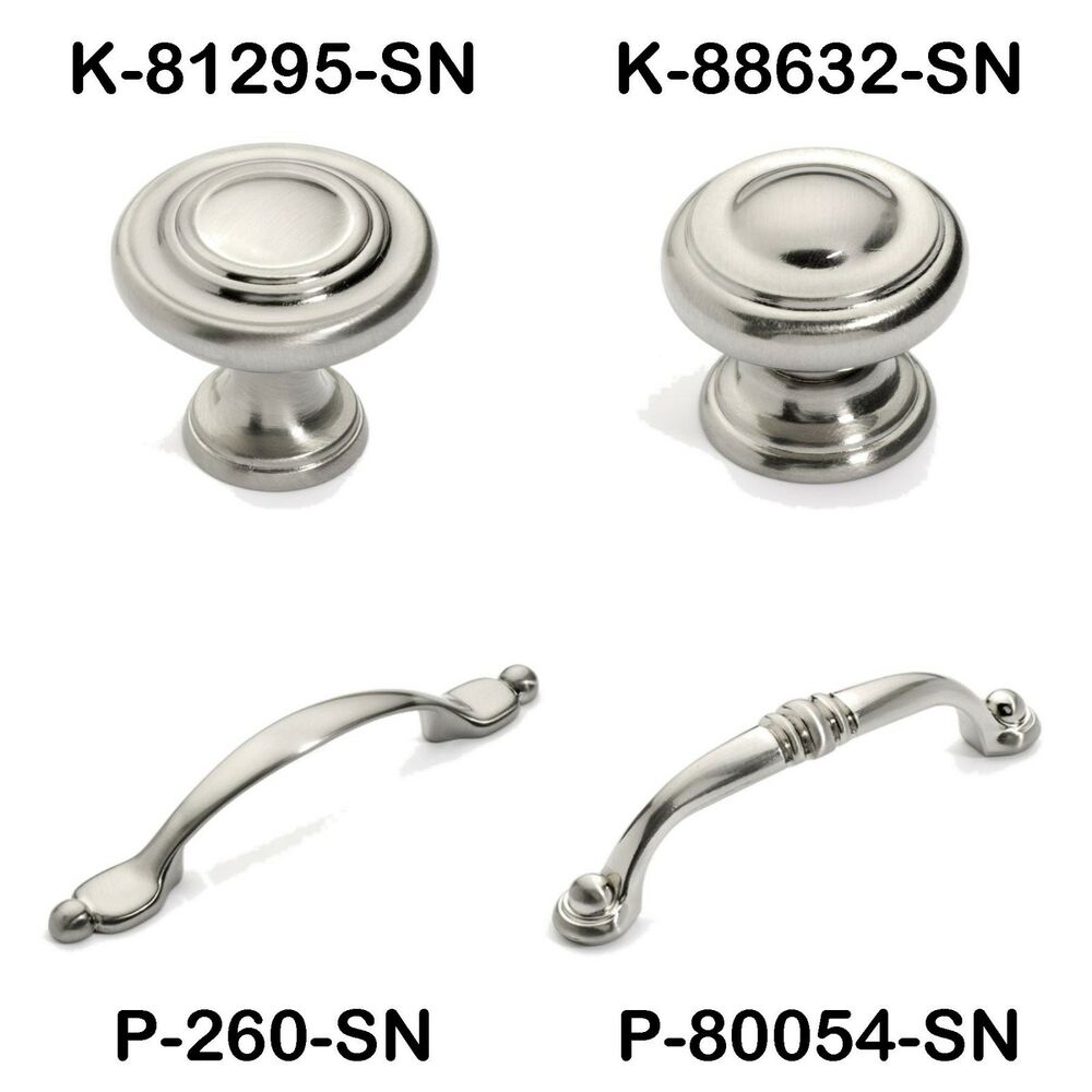 Satin nickel cabinet hardware ring knobs and pulls ebay for Cabinets handles and knobs