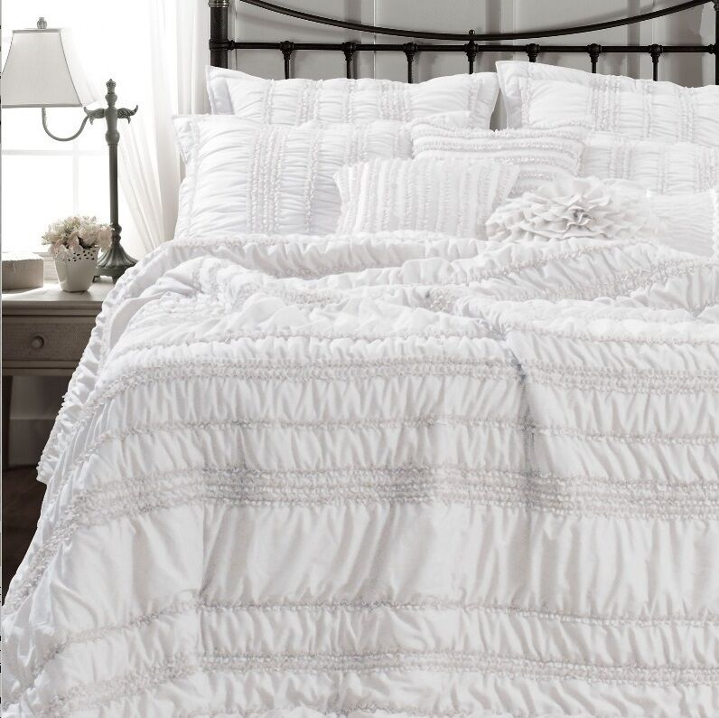 white queen quilt white ruched 3pc quilt set chic 1056