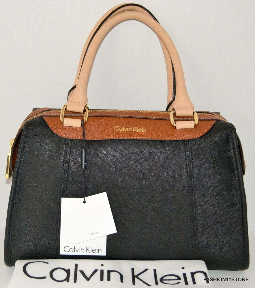 calvin klein satchel saffiano bag purse handbag sac bolsa black brown msrp 228 ebay. Black Bedroom Furniture Sets. Home Design Ideas