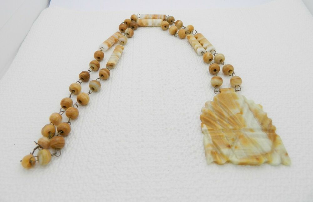 Marble Stone Jewelry : Vtg hand carved mexican brown white marble onyx aztec