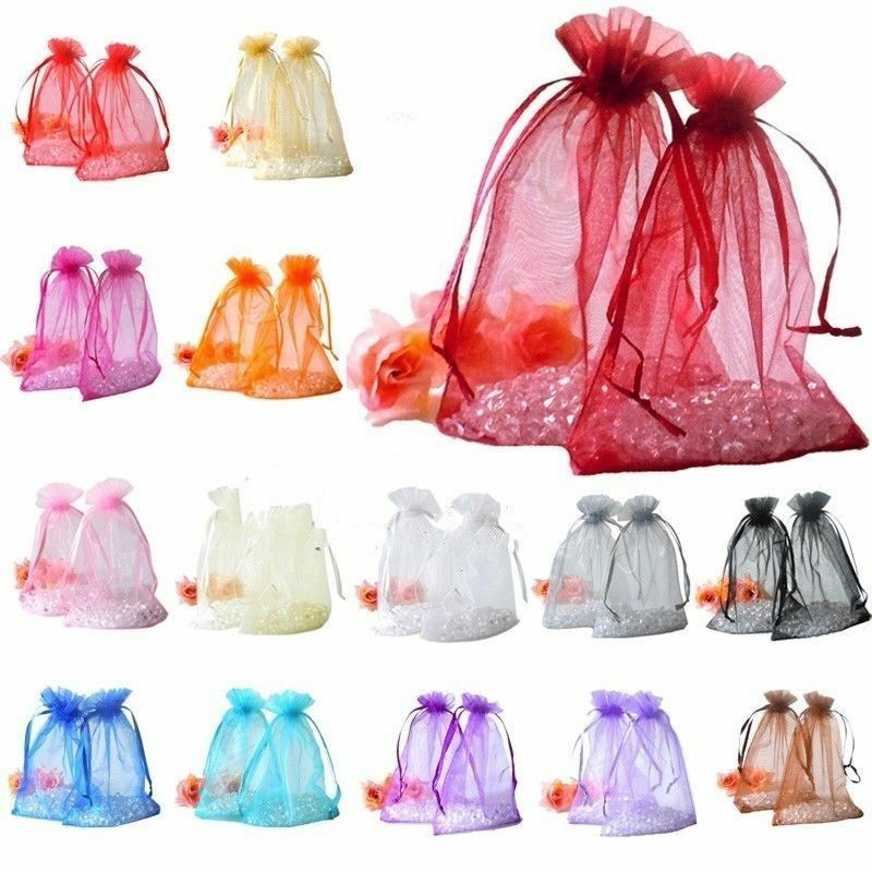 30/100pcs Organza Jewelry Packing Pouch Wedding Favor Gift