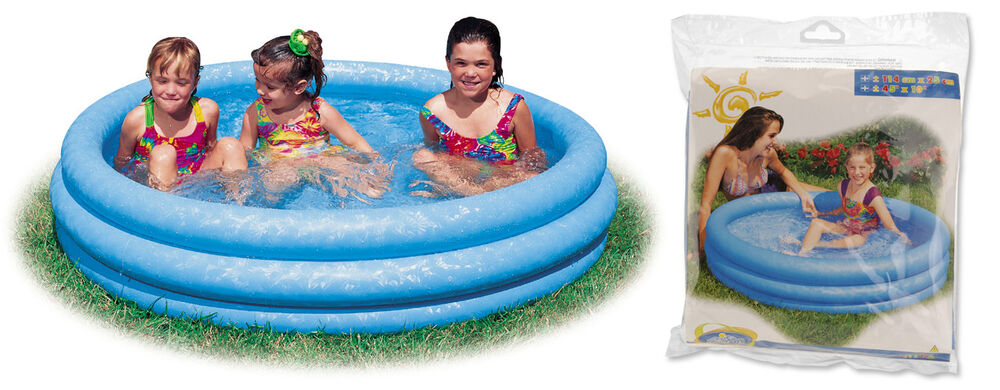 Intex 3 ring crystal blue paddling pool kids swimming pool for Best children s paddling pool
