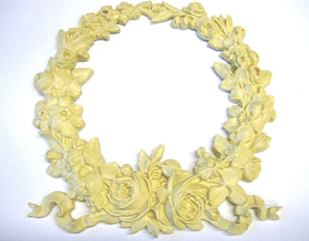 architectural carved large wreath roses furniture appliques wood resin flexible ebay. Black Bedroom Furniture Sets. Home Design Ideas