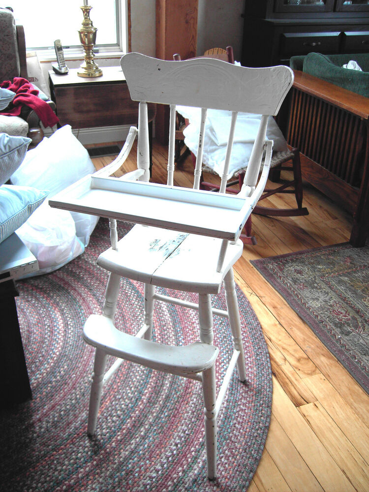 Antique 1800 S Pressed Back White Baby High Chair W Emanel