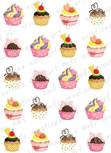 20 Colorful Cupcakes Water Slide Nail Art Decals