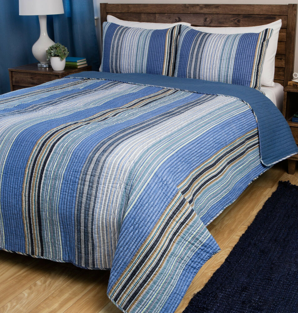 Ocean Blue Stripe Full Queen Quilt Set Nautical