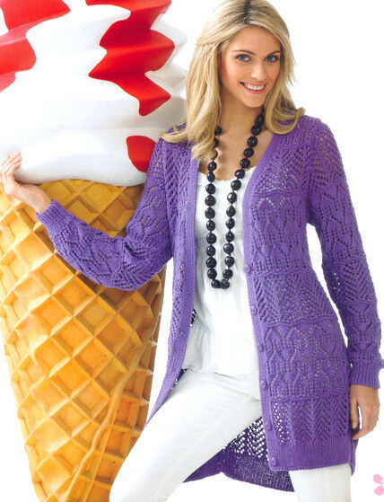 Knitting Pattern For A Long Cardigan : Womans Ladies Long Lacy Jacket/Cardigan Cotton DK 34