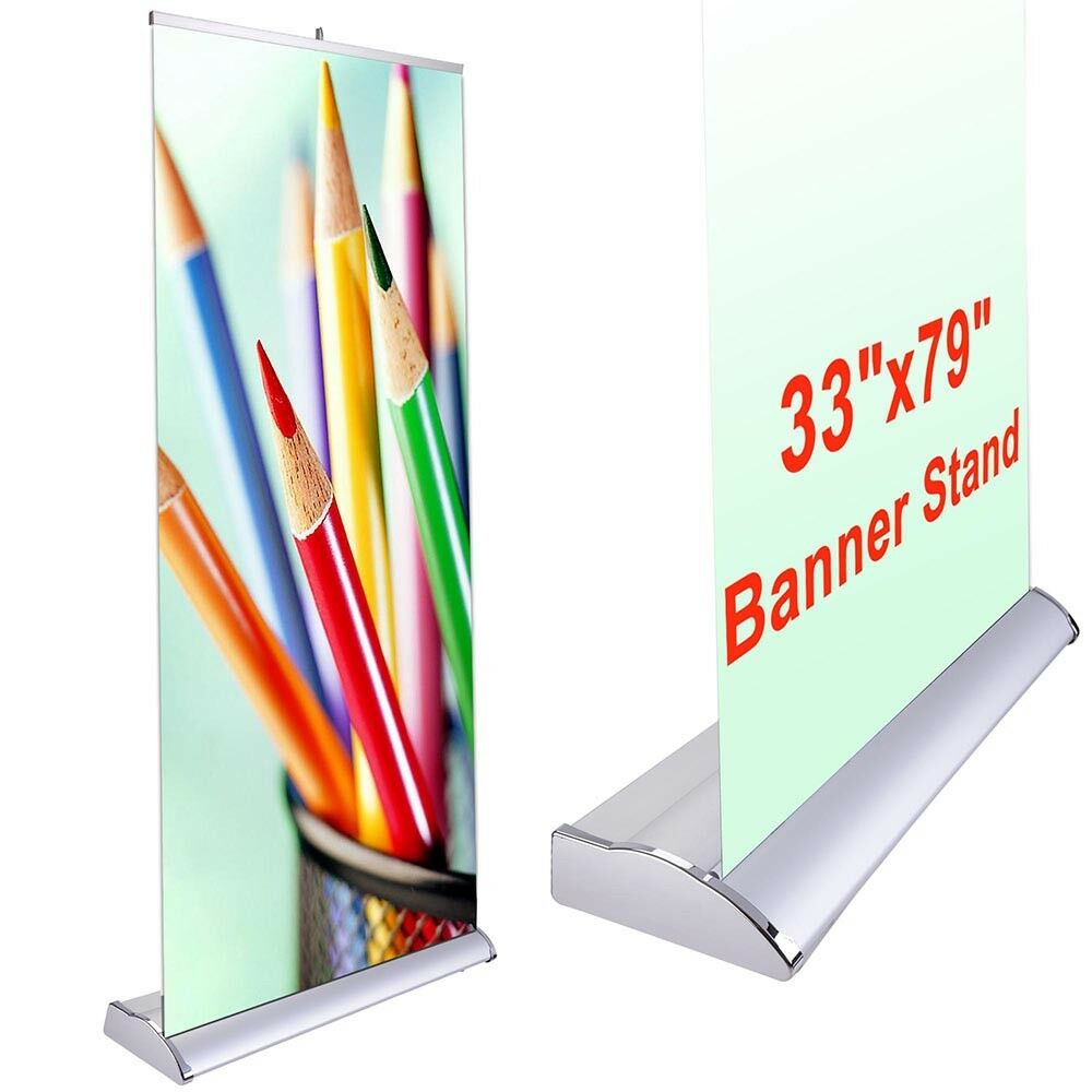 33x79 pop up banner stand retractable roll trade show sign. Black Bedroom Furniture Sets. Home Design Ideas