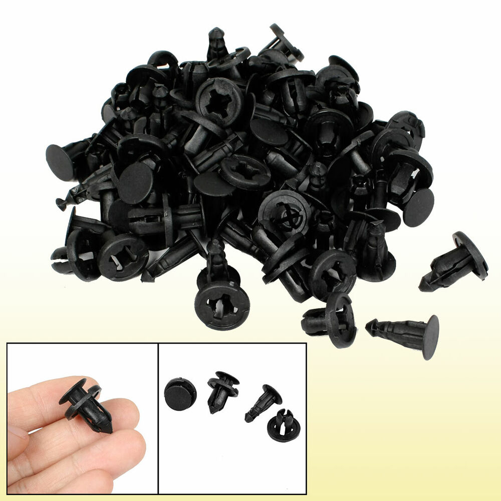 50 pcs 10mm hole black plastic rivet car interior door trim panel retainer clips ebay. Black Bedroom Furniture Sets. Home Design Ideas