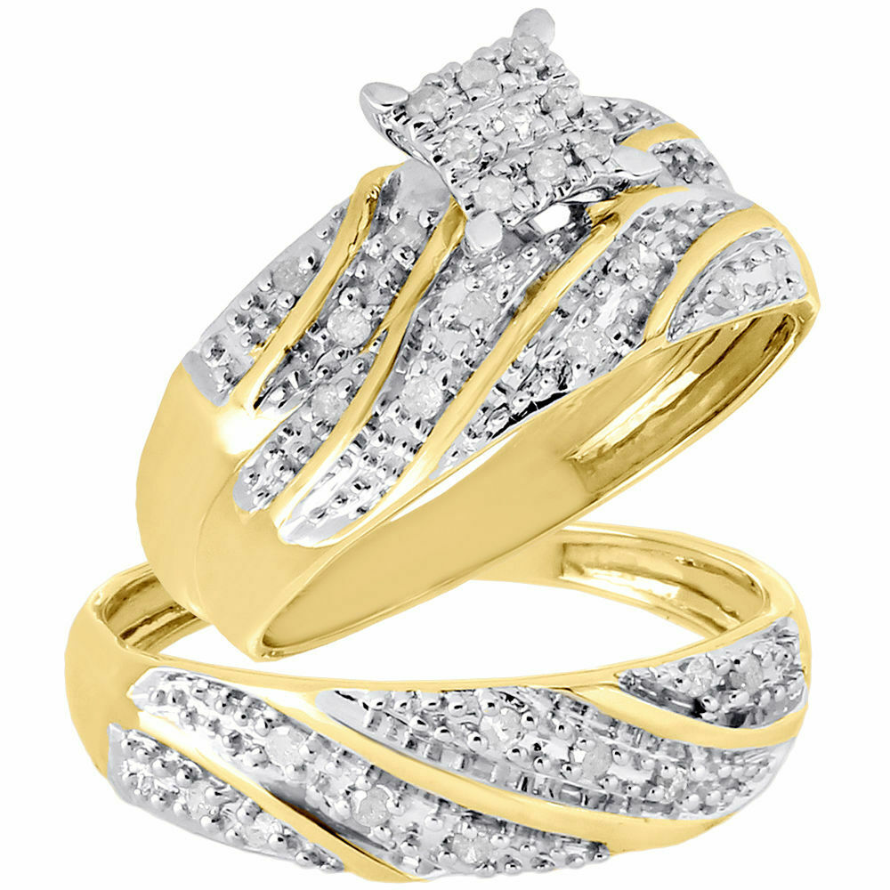 10K Yellow Gold Diamond Trio Set Matching Engagement Ring Wedding Band 27 Ct