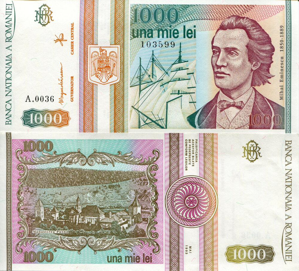 ROMANIA 1000 Lei Banknote World Paper Money Currency p102 1993 Europe Note Bill | eBay