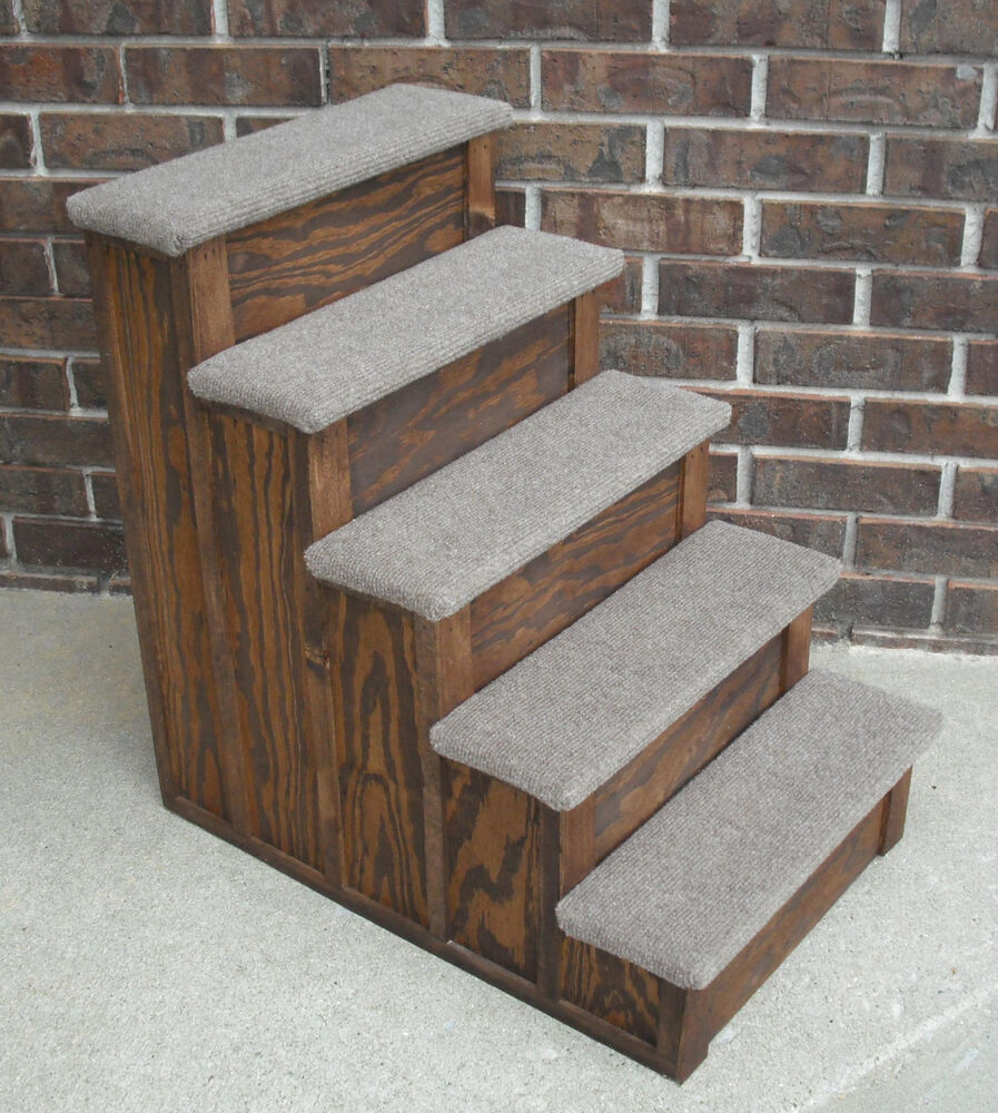 Pet Step 30 Inch Tall Wood Pet 5 Steps Tall Bed Step Stain