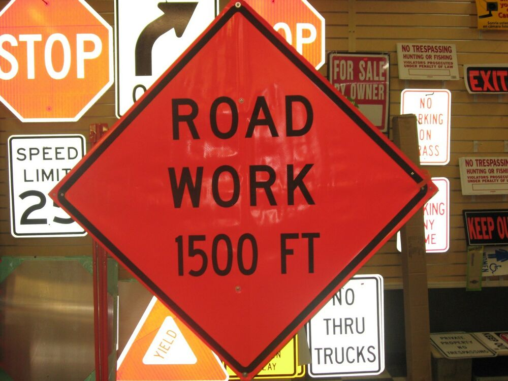 road work 1500 ft fluorescent vinyl with ribs road sign 48