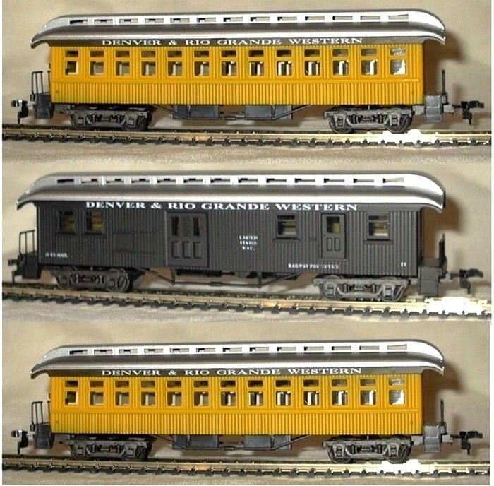 ho scale model power old time d rg passenger cars 3 ebay. Black Bedroom Furniture Sets. Home Design Ideas