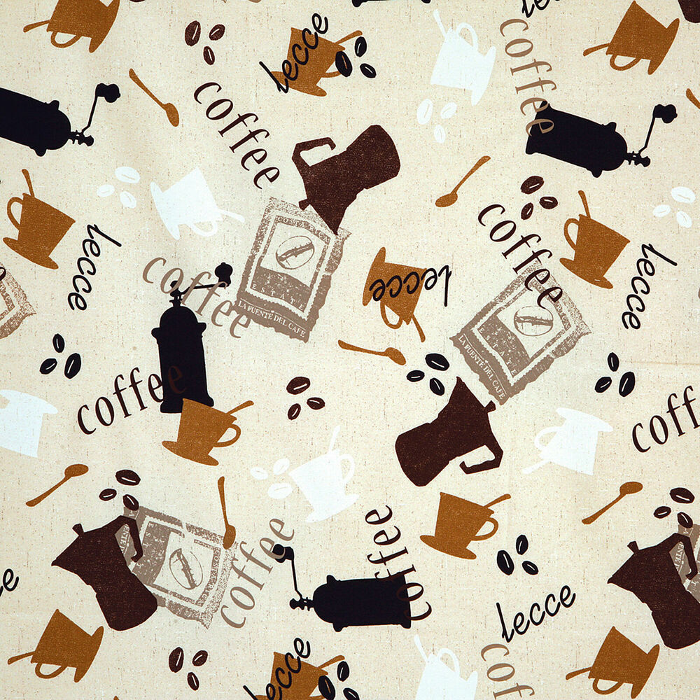 Cotton Upholstery Craft Fabric Coffee Beans Cafe Interior