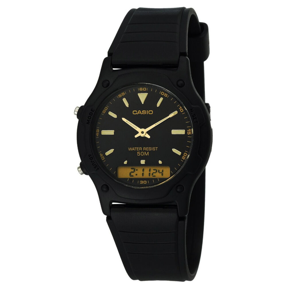 Casio aw49he 1av casual classic men 39 s analog digital dual time watch black ebay for Watches digital