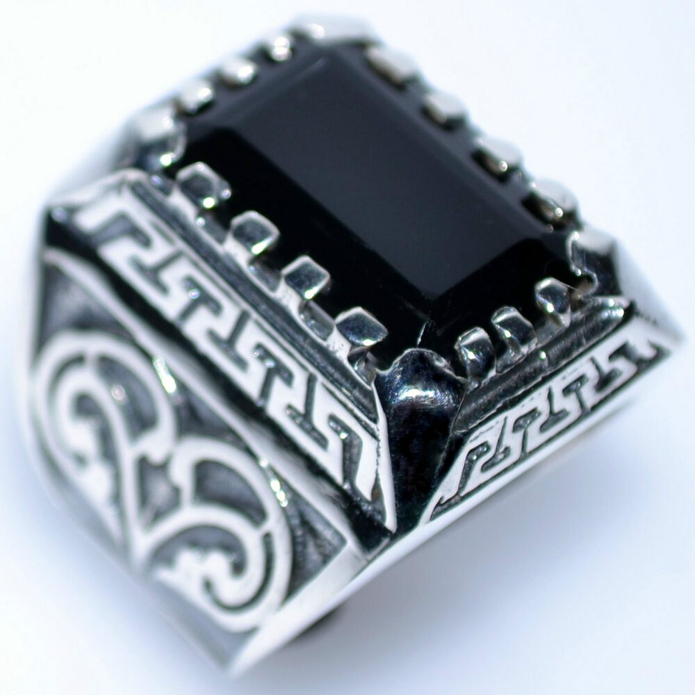 Emerald Cut Black Onyx Solid Sterling Silver Rings New 925