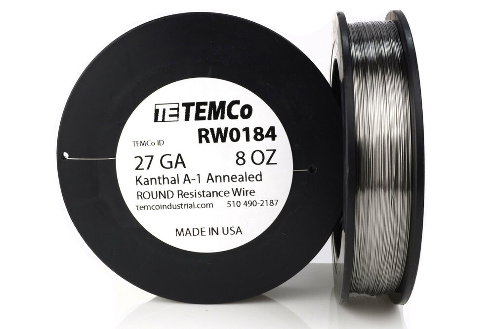 TEMCo Kanthal A1 wire 27 Gauge 8 oz (1020 ft) Resistance AWG A-1 ga ...