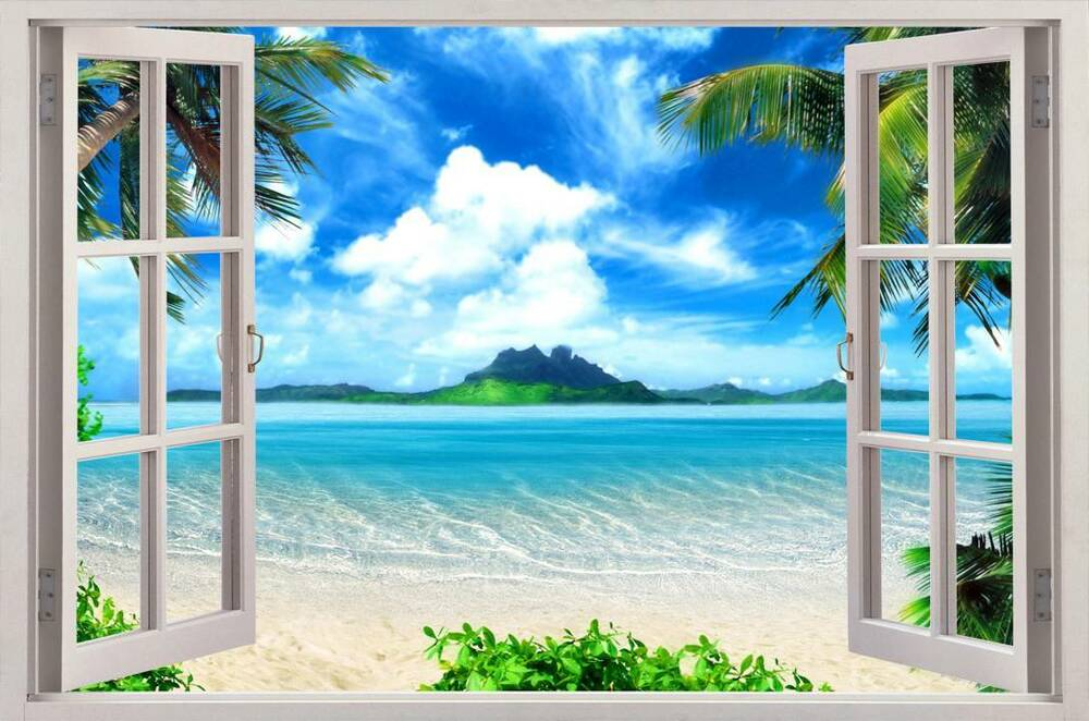 Exotic beach view 3d window decal wall sticker home decor for Home decor 3d wallpaper