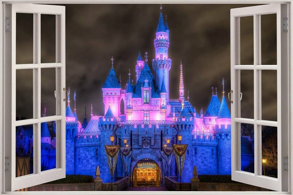Enchanted princess castle 3d window decal wall sticker for Castle wall mural sticker
