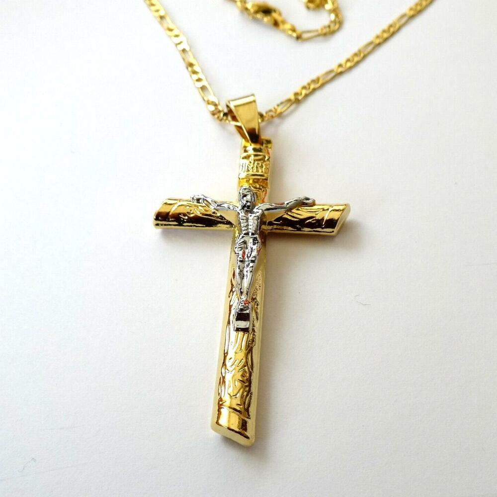 Crucifix Necklace Womens: MEN'S WOMEN'S Gold Silver Filled Jesus Christ Crucifix
