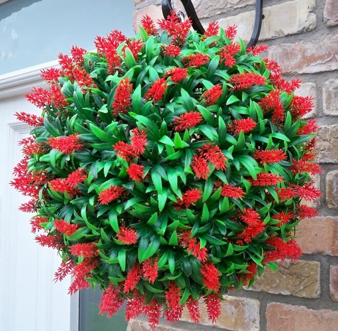 How To Make Flower Baskets For Hanging : Best artificial large cm lush red long leaf topiary