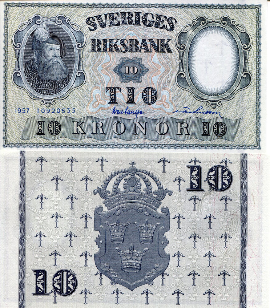 SWEDEN 10 Kronor Banknote World Money Currency BILL p43e ...