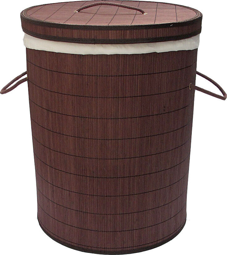 Bamboo collapsible laundry hamper basket 58cm x 46cm new ebay - Collapsible clothes hamper ...