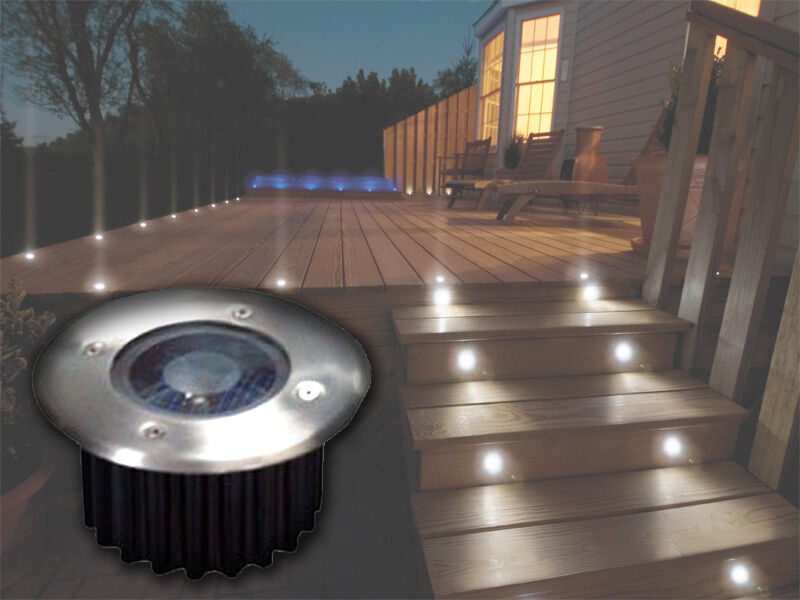 2 6 10 bright white led solar powered garden decking deck for Flat pack garden decking
