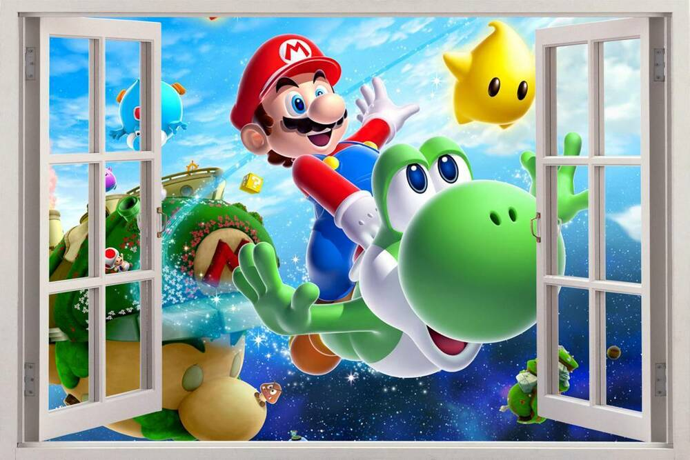 super mario bros 3d window view decal wall sticker home