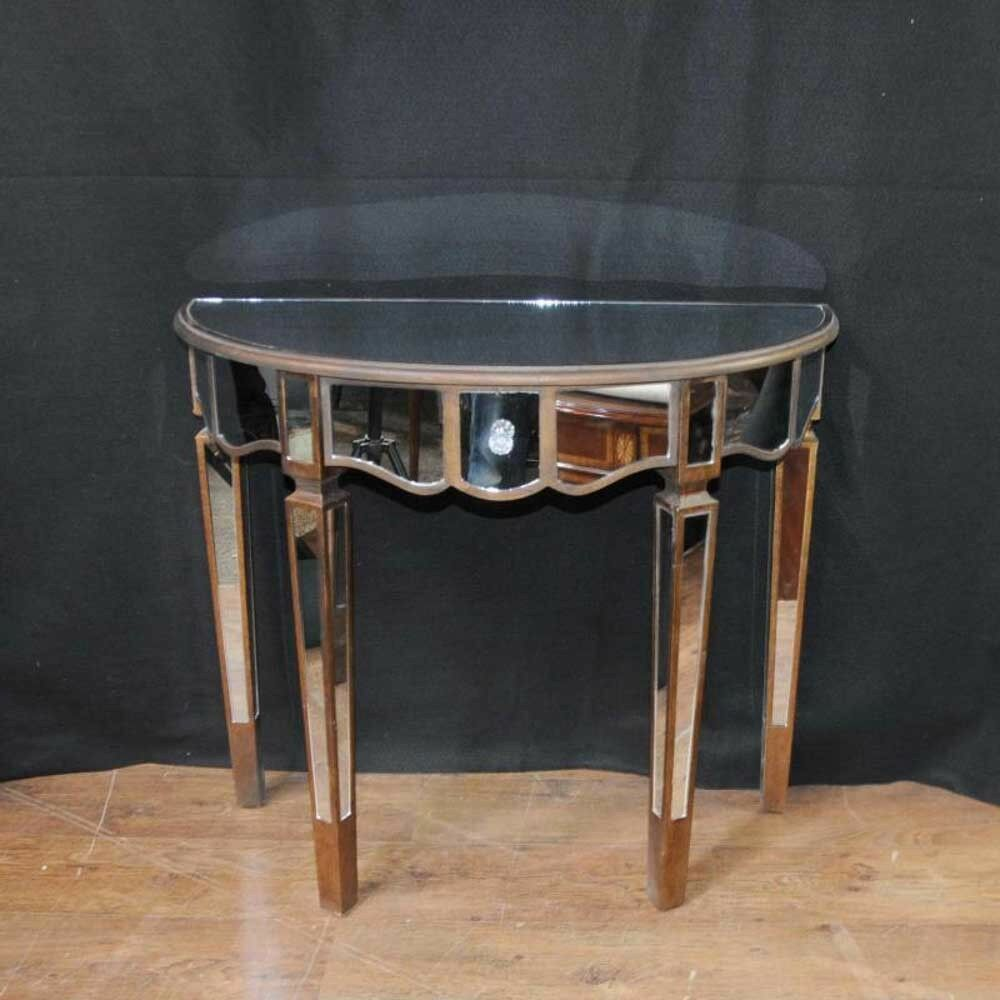 mirrored console table art deco demi lune tables ebay. Black Bedroom Furniture Sets. Home Design Ideas