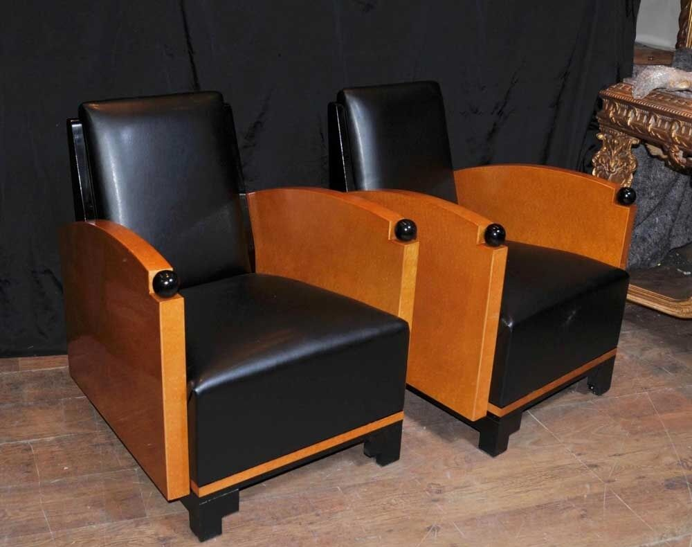pair art deco club chairs arm chairs biedermeier sofa ebay. Black Bedroom Furniture Sets. Home Design Ideas