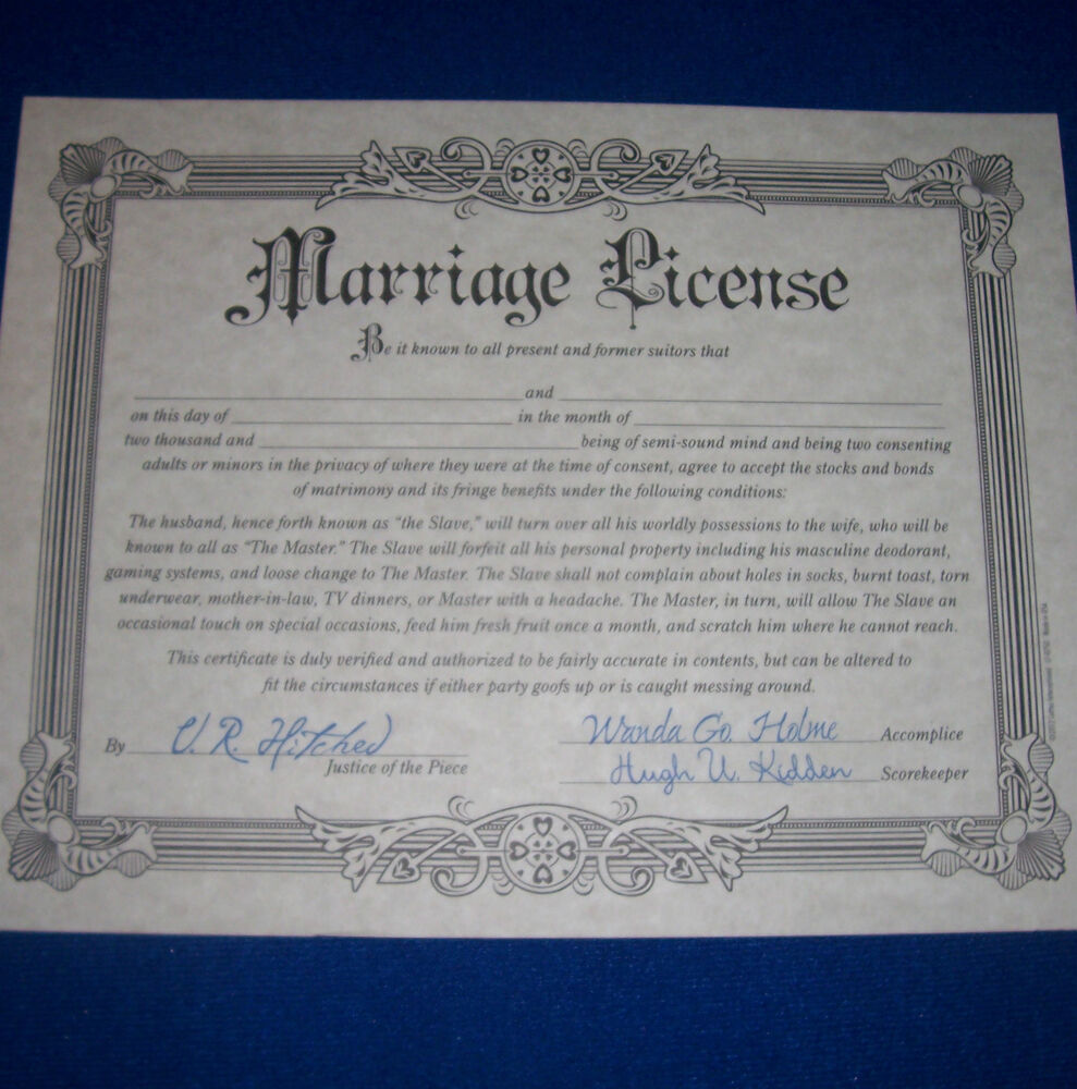 What Is An Appropriate Wedding Gift Amount: Fake Marriage License Joke Wedding Gift Prank Certificate
