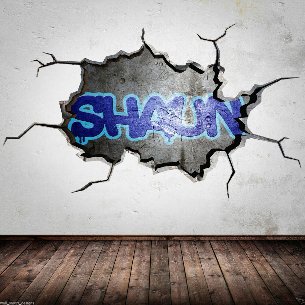 Personalised graffiti name cracked 3d wall art sticker for Sticker mural 3d