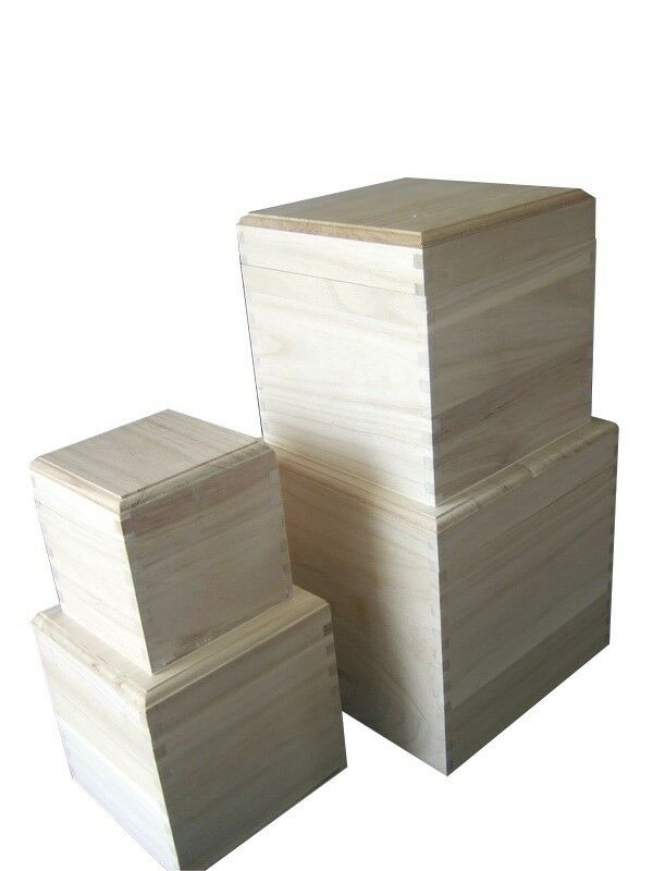 Cube Square Plain Wooden Box With Removable Lid Choice