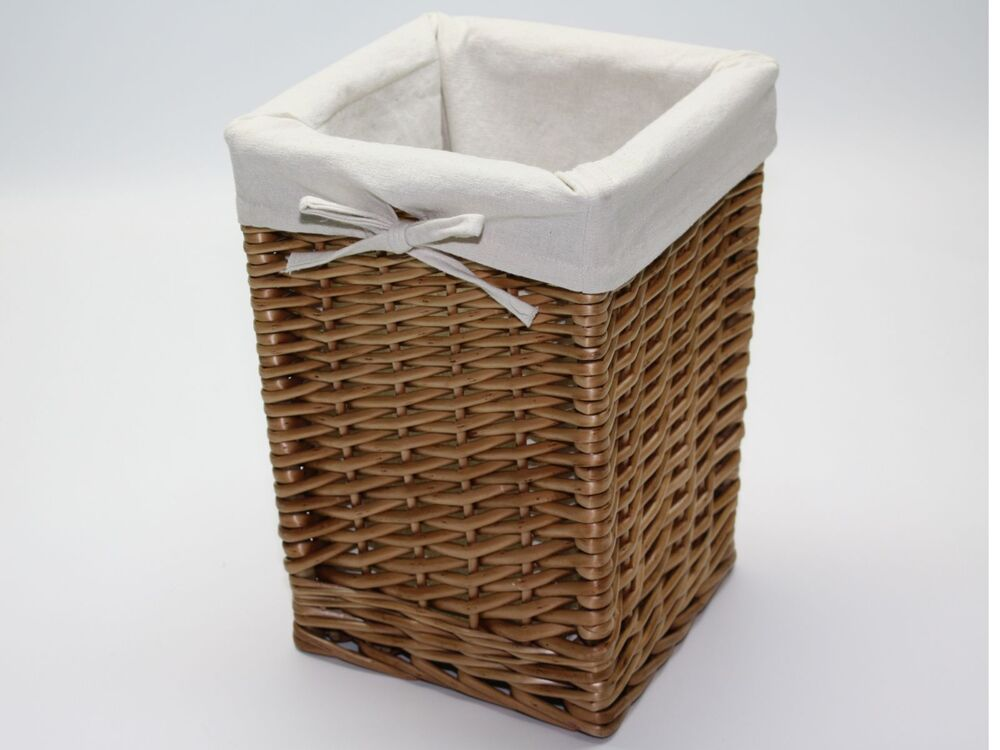 Tall square wicker storage waste basket lined browns for Waste baskets for bathroom