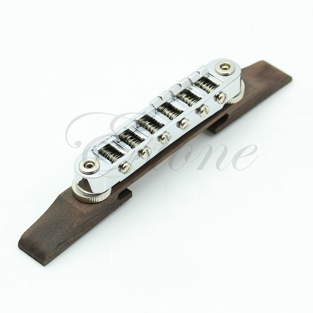 new adjustable chrome rosewood bridge roller saddles for les paul jazz guitar ebay. Black Bedroom Furniture Sets. Home Design Ideas