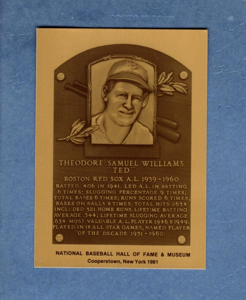 Ted Williams Red Sox Official Hall Of Fame Metallic