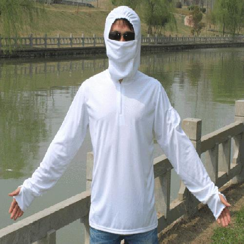 White Fishing Cycling Sun Protection Hooded Clothes With