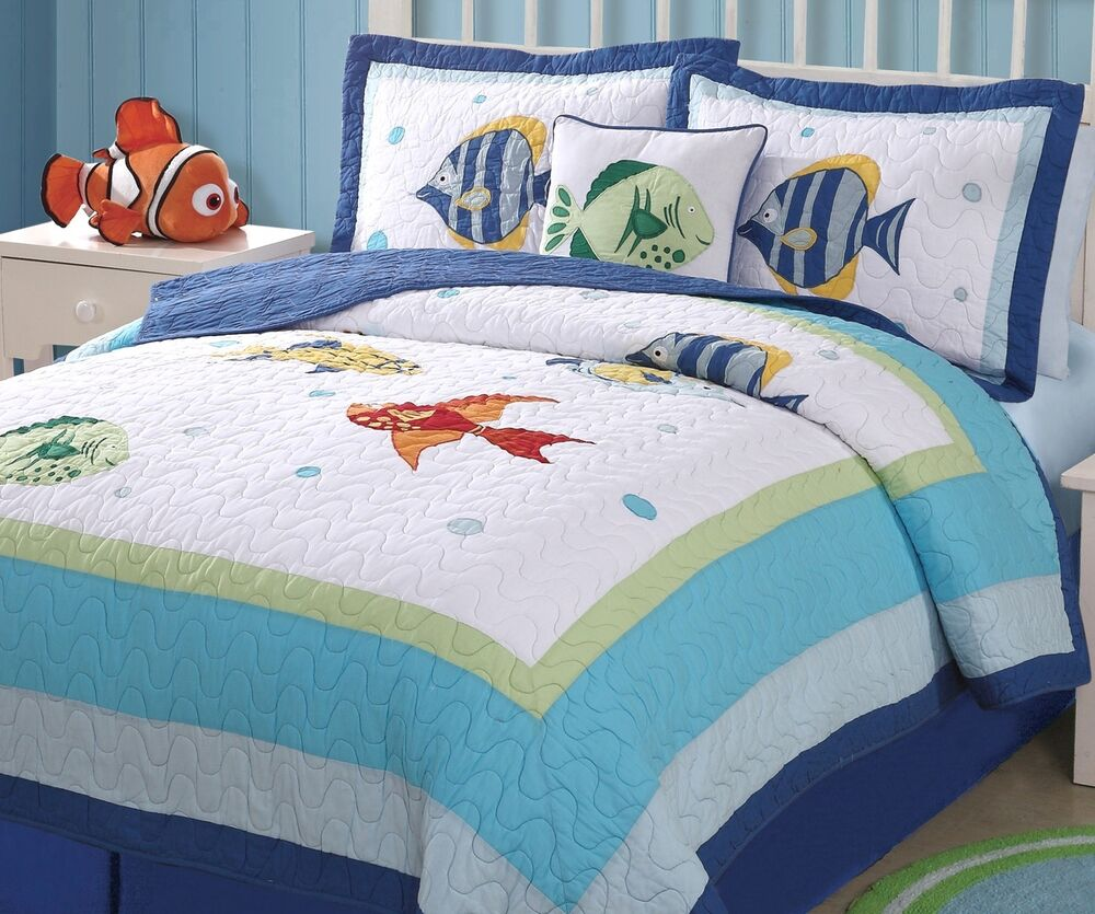 Colorful sea full queen quilt set tropical fish blue for Fish bedding twin
