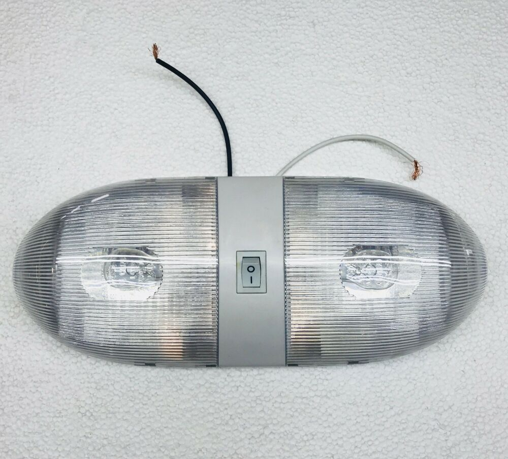 Rv Camper Trailer Double Interior Light 12 Volt W Switch White Ebay