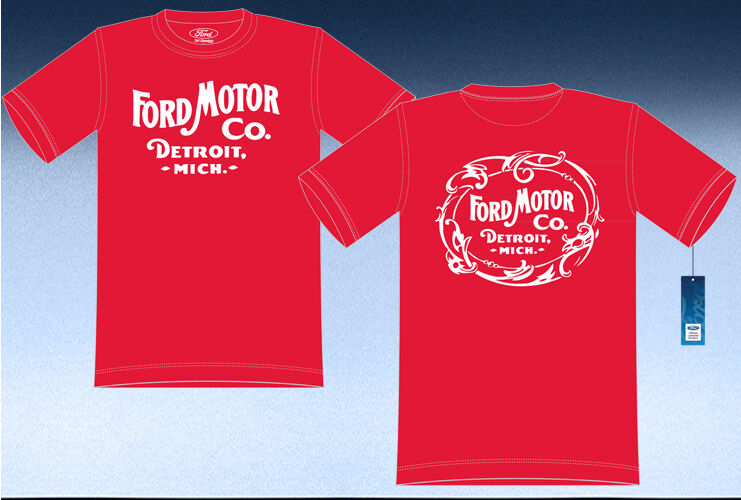 Ford motor company detriot mich t shirt red cotton mens for The red t shirt company