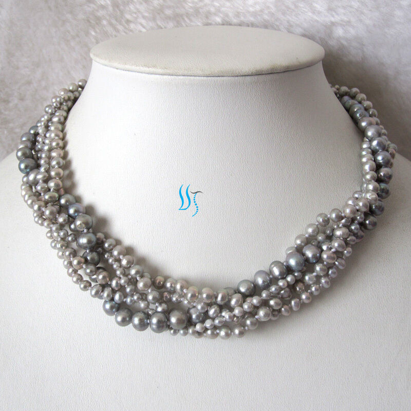 "18"" 5Row 3-7mm Gray Freshwater Pearl Necklace Cultured ..."