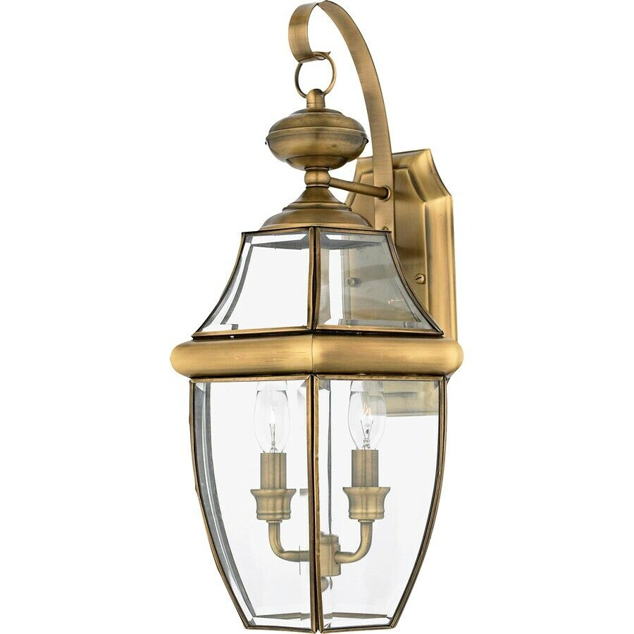 Quoizel 2 Light Newbury Outdoor Wall Lanterns Antique Brass Ny8317a Ebay