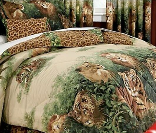Lion Leopard Tiger Jungle Wild Cat Full Comforter Set 8