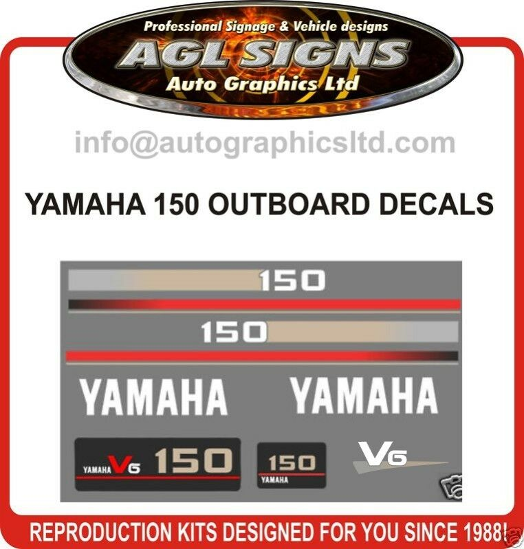 Yamaha 150 hp outboard decals stickers 115 175 200 for Yamaha boat decals graphics