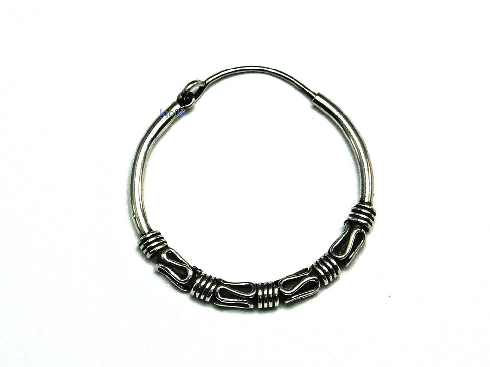 mens sterling silver hoop earrings new mens sterling silver bead bali creole hoop earring 4693