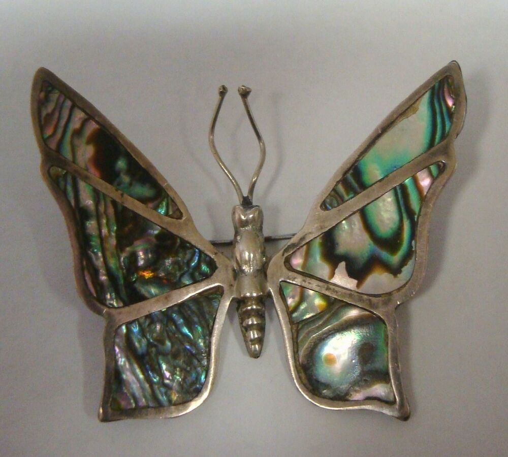 Butterfly Pin Brooch Sterling Silver Abalone Na Mexico Inlaid Antique Vintage Ebay