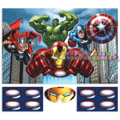Avengers assemble party game poster birthday supplies for All decoration games for girls